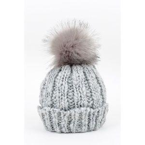 Chunky Knit Pom Hat- GREY